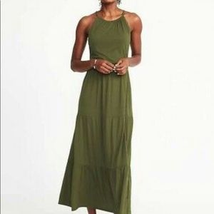 Old Navy olive green maxi halter neck